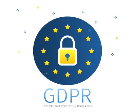 Concept of General Data Protection Regulation in European Union. EU GDPR. Flat design, vector illustration
