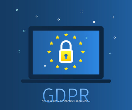 Concept of General Data Protection Regulation in European Union. EU GDPR. Notebook with lock icon and european flag. Flat design, vector illustration