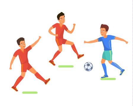 Football soccer player. Men playing soccer. Flat design, vector illustration