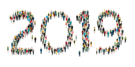 2019 Numbers formed out from people. Top view. Flat design, vector illustration