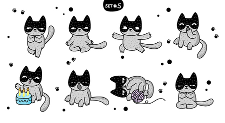 Cute cartoon cats with different emotions. Sticker collection. Vector set of doodle emoji and emoticons. Set 5 Фото со стока - 126430060
