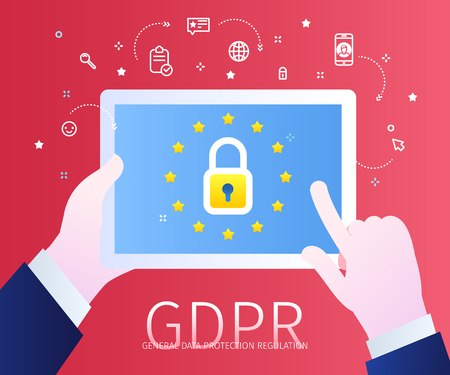 Concept of General Data Protection Regulation in European Union. EU GDPR. Hands holding a tablet with lock icon and european flag. Flat design, vector illustration Иллюстрация