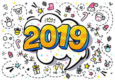 New Year greating card. Yellow numbers 2019 in word bubble. Message in pop art comic style.