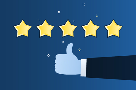 Concept of rating. Customer review. Five star rating. Thumb up, like on blue dackground. Flat design vector illustration Иллюстрация