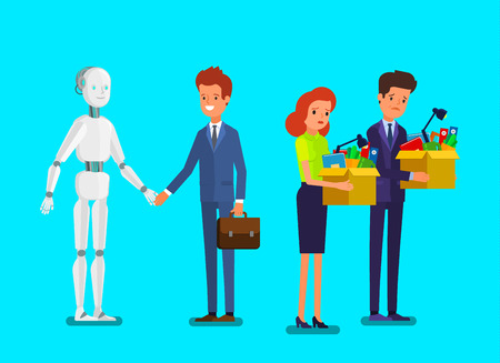 Concept of artificial Intelligence and business automation. Businessman standing with robot.