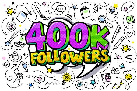 400000 followers illustration in pop art style. Vector illustration Фото со стока - 126260263