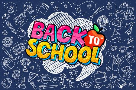 Concepto de educación. Fondo escolar con útiles escolares dibujados a mano y bocadillo de diálogo cómico con letras de regreso a la escuela en estilo pop art en pizarra azul. Logos