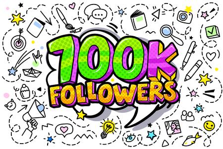 700000 followers illustration in pop art style. Vector illustration Иллюстрация