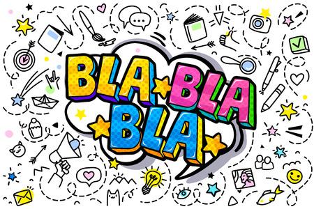 Bla Bla Bla Message in pop art style, promotional background, presentation poster. Flat design, vector illustration. Фото со стока - 126020050