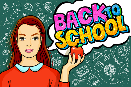 Concept of education. Young woman, teacher holding an apple in front of green blackboard. Back to school message in pop art style. Vector illustration. Illustration