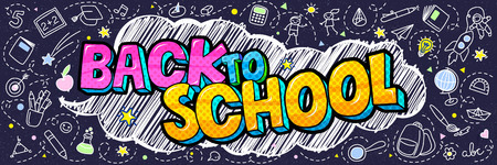 Concept of education. School background with hand drawn school supplies and comic speech bubble with Back to School lettering in pop art style on blue blackboard.