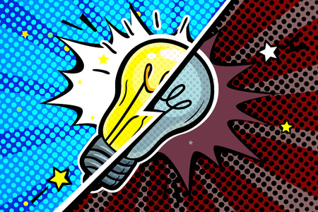 Concept of Idea. On and off Light bulb in pop art style. Vector illustration.