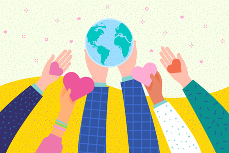 Hands holding a heart and Earth symbol. International Day of Peace. Flat design, vector illustration. Иллюстрация