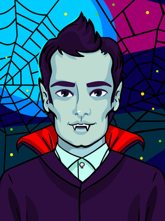 Halloween illustration. Vampire with fangs and black hair Illustration