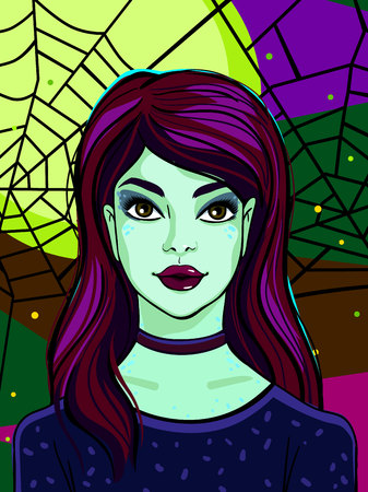 Halloween illustration. Witch with green skin on poster or greating card for Halloween party