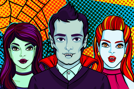 Halloween illustration. Vampires and witch. Vector illustration