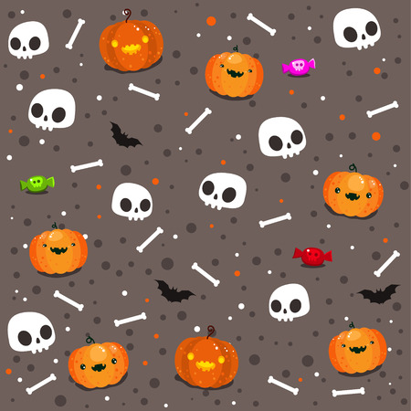Seamless pattern of Funny skulls and pumpkins. Happy Halloween. Day of the Dead. Vector illustration. Иллюстрация