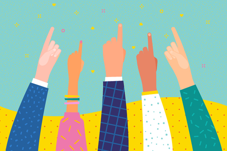 People show forefinger up. Hands with pointing finger. Flat design, business vector illustration.
