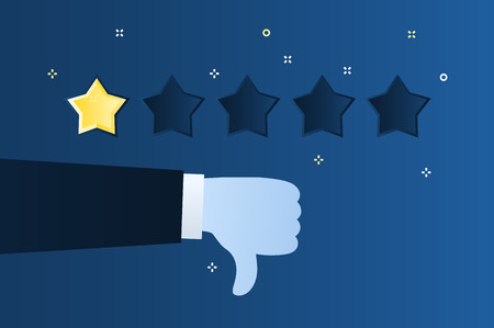 Concept of rating. Customer review. One star rating. Thumb down, dislike on blue background. Flat design vector illustration