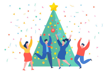 Funny  business people dancing near the Christmas tree. New Year business concept. Illustration