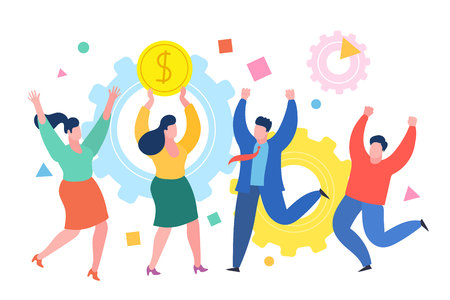 people business concept. Successful business woman celebrates success with colleagues. Business concept of success, achievement, wealth. Illustration