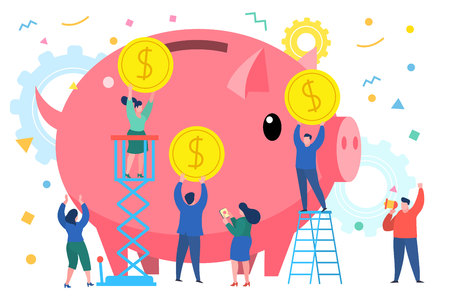 business people bring money in a giant piggy bank Illustration
