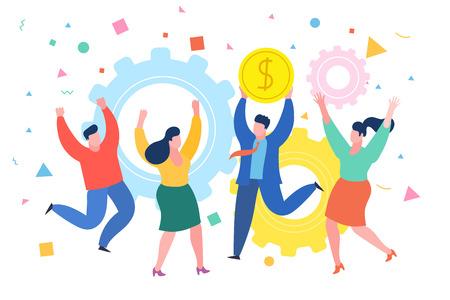 people business concept. Successful businessman celebrates success with colleagues. Business concept of success, achievement, wealth.