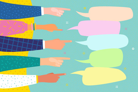 Human hands point finger on speech bubble. Several human hands with pointing finger. Flat design, business vector illustration.