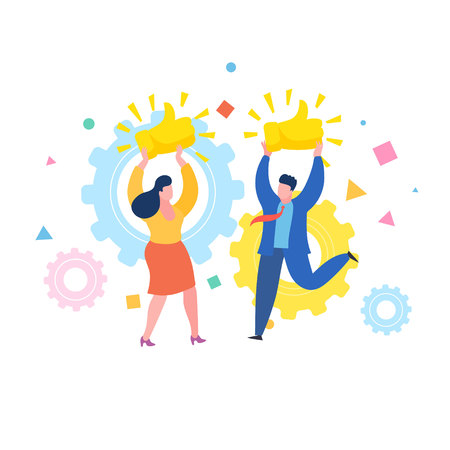 Concept of likes and positive feedback. Happy woman and man with prize Thumbs up sign. Business woman and businessman hold the prize over heads. Flat design, vector illustration. Иллюстрация