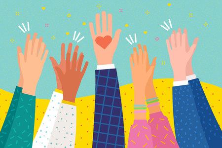 Concept van liefdadigheid. Mensen applaudisseren. Menselijke handen klappen ovatie. Hand met een hart. Plat ontwerp, bedrijfsconcept, vectorillustratie Vector Illustratie