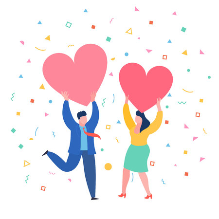 Man and woman holding hearts. Valenine day. Love and relationship. Illustration