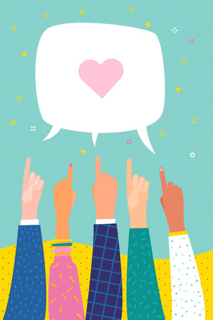 Human hands point finger on speech bubble with heart. Several human hands with pointing finger. Flat design, business vector illustration. Ilustração