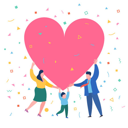 Happy family with big red heart. Dad mom and son hold a symbol of love Vector Illustration