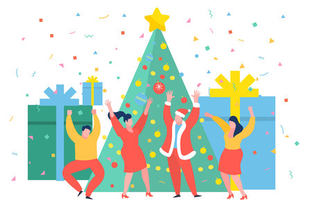 Funny business people dancing near the Christmas tree. New Year business concept.