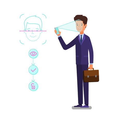 Concept of Face identification. Cartoon business man holds smartphone in his hand for getting access to device via face recognition technology. Flat design, vector illustration. Иллюстрация