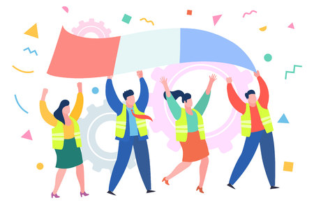 Concept of protest. Demonstration of yellow vests against a new increase in taxes imposed by the French government. People in yellow vests with french flag. Flat design, vector illustration.