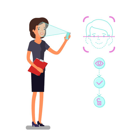 Concept of Face identification. Cartoon business woman holds smartphone in his hand for getting access to device via face recognition technology. Flat design, vector illustration. Иллюстрация
