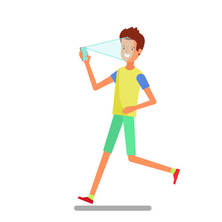 Concept of Face identification. Cartoon man runs and holds smartphone in his hand for getting access to device via face recognition technology. Flat design, vector illustration.