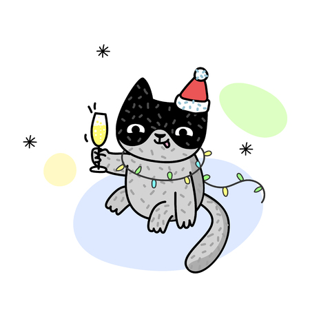 Winter illustration with happy cat drink in Santa Claus costume. Cute kitten. Vector illustration for a postcard, poster, print for clothes or accessories. New Year and Christmas. Иллюстрация