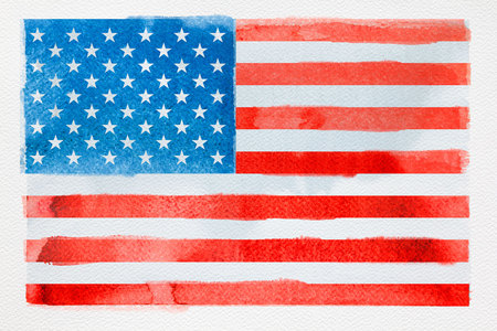 Concept of traveling. Watercolor American flag on white