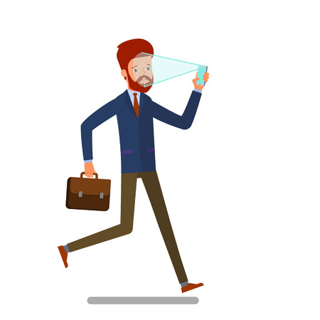 Concept of Face identification. Cartoon business man runs and holds smartphone in his hand for getting access to device via face recognition technology. Flat design, vector illustration.