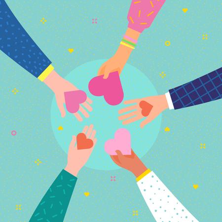 Concepto de caridad y donación. Da y comparte tu amor con la gente. Manos sosteniendo un símbolo de corazón. Diseño plano, ilustración vectorial.