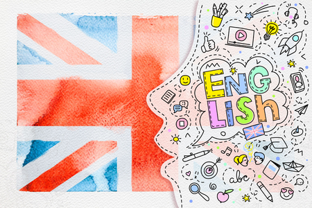 Concept of traveling. Watercolor British flag on white Stock Photo