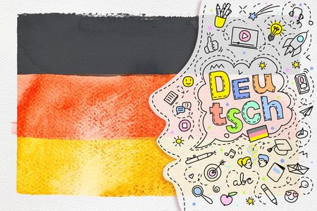 Concept of traveling. Watercolor Deutsch flag on white