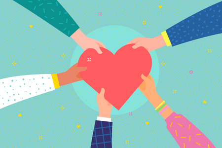 Concept of charity and donation. Give and share your love to people. Several people hold big heart symbol on their hands. Flat design, vector illustration. Иллюстрация