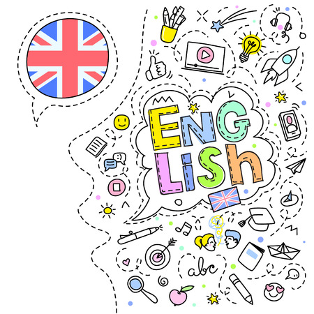 Concept of traveling. British flag and face with line art icons. Illustration