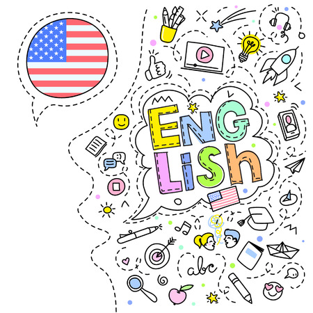 Concept of traveling or studying English. American flag and face with line art icons. Flat design, line art vector illustration. Иллюстрация