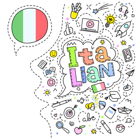 Concept of traveling or studying Italian. Italian flag and face with line art icons. Flat design, line art vector illustration. Иллюстрация