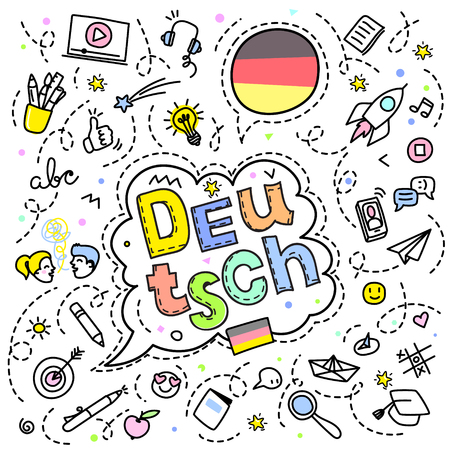 Concept of traveling or studying German. German flag and face with line art icons. Flat design, line art vector illustration. Иллюстрация