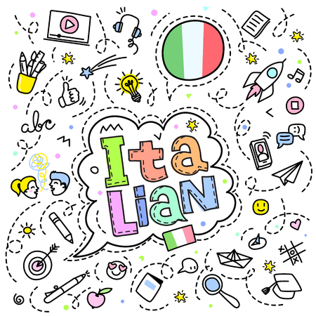 Concept of traveling. Italian flag with line art icons.